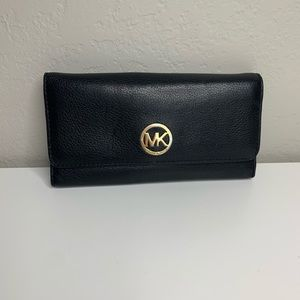 Michael Kors Black Pebbled Leather Wallet